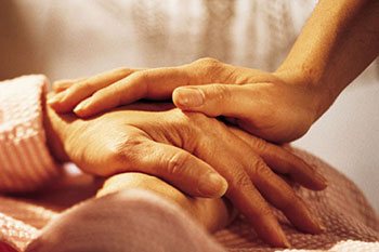Caregiver hands image